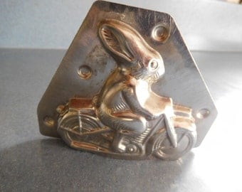 Rabbit Riding Motorcycle #9720 Vintage Metal Candy Mold