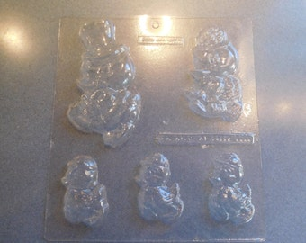 Duck Family Solid Chocolate Mold Vintage Plastic Candy Mold