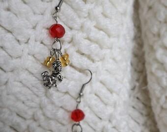 Wizard Earrings, Wizard School Earrings, Dangle Earrings, Lion Earrings, Long Earrings, Gift for Her, Gift for Girls, Birthday Gift