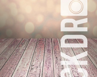 Forced Perspective Photography Backdrop - Pink Bokeh  & Wood Floor- 5'x10'