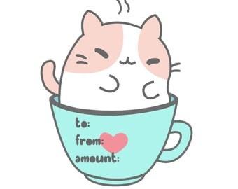 Kawaii Kitty Cafe- Cat Shaped Gift Card