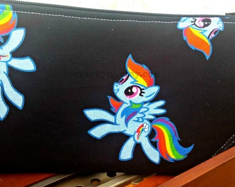 MLP Rainbow Wristlet - Rainbow Dash Zippered Pouch - My Little Pony Clutch - OOAK - Custom Made