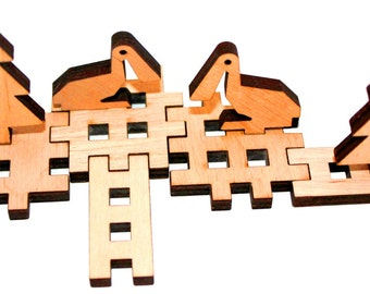 Zoo animals. Wooden 3D puzzle. Plywood puzzle design interesting figures.