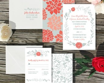 Modern Garden Wedding Invitation Sample