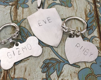 Personalized Hand Stamped Dog Name Tags