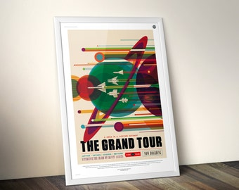 NASA Voyager Canvas Poster Print, The Grand Tour Visions of the Future Space Art, Retro Gift Ideas, Nasa SpaceX Rocket Home Office Artwork