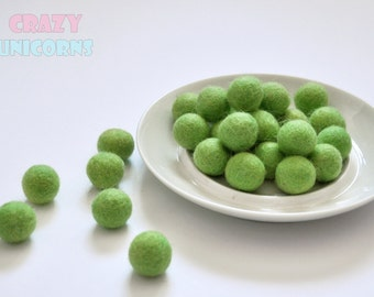 Wool pom poms wool felt ball х 50 x 2 cm DIY beads felt round Needle felting ball Needle felting bead Felted wool ball