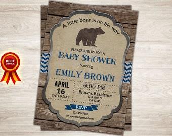 Woodland bear baby shower invitation. Rustic Bear Baby boy Shower Invitation, Little Bear Baby Shower Invitation, Boy Baby Shower Printable