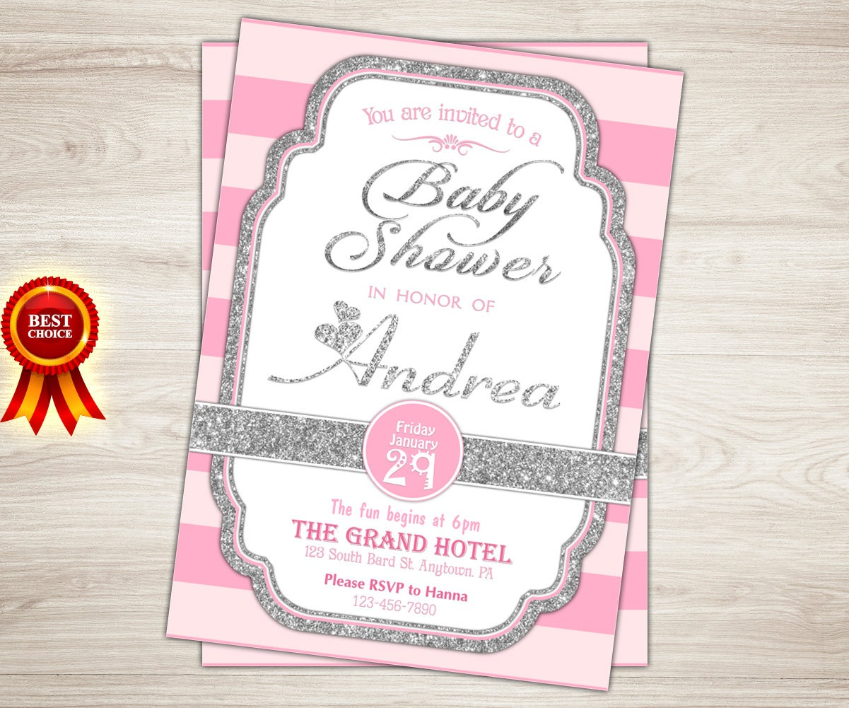 pink and silver baby shower invitation girl silver glitter