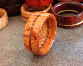 wood band,wooden band,wood ring,wooden ring,wood,band,flat band,ring,cross,inlay,unique,line,free shipping