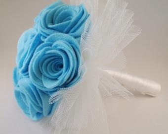 Blue Felt Flower Wedding Bouquet, Alternative Bouquet, Keepsake Bouquet