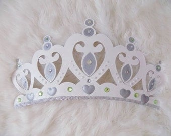 Bed Canopy Crown Wall Decor in WHITE With Sheer Panels and Choice of Rhinestone Accent Color