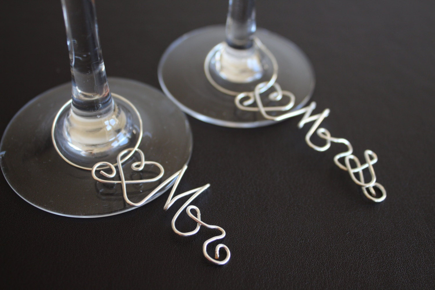 Mr and Mrs Heart Wire Wedding Wine Glass Charms