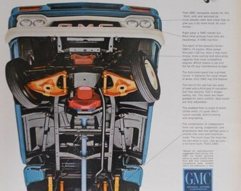 1966 GMC Pickup Ad.  Undercarriage of truck.  Classic GMC pickup ad.  Full color illustration.  Life Magazine.  February 18, 1966.