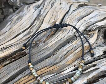 Grey Blue and Brass Adjustable Bracelet