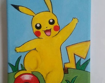 """Pokemon Go Pikachu and the Poke Ball acrylic painting, Original handmade painting on a small stretched canvas size 15 x 15 cm ( 6 x 6"""")"""