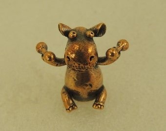 Figurine Hippo With Dumbbells