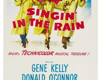Vintage Singing in The Rain Movie Poster Print