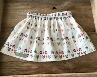 Arrow print skirt, infant/toddler skirt, handmade clothing