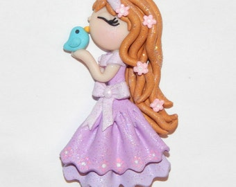 Handmade Girl with Bird Polymer Clay Pendant/Magnet/Bead/Figure