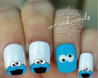 COOKIE MONSTER crazy eyes- Water Slide Decals-Nail Decals-Nail Art-Nail Wrap