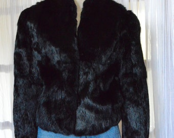 Beautiful Ladies Wilson Suede & Leather Black Dyed Rabbit Fur Coat! Size M!