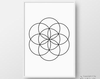 Printable Flower Of Life Poster, Flower of Life Print, Sacred Geometry Print, Geometric Poster, Minimalist Print, Modern Poster, Home Decor