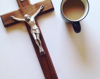 """15"""" Large Crucifix - Wall Crucifix - Wood Crucifix - Wooden Cross - Husband Gift - Catholic Gift - Baptism Gift - Wall Cross"""