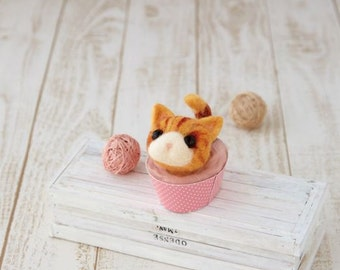 Needle Felting Kit Cat in a Cup  Wool Felt Kit - By Hamanaka  NEW Model 2016