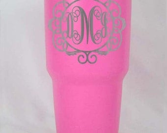 30 oz Pink powder coated RTIC cup personalized custom