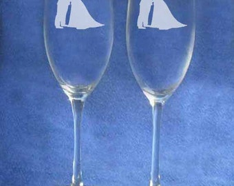 Policeman and bride wedding champagne toasting glasses personalized
