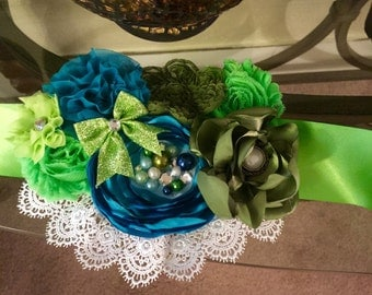 Blue green Aqua Flower Sash