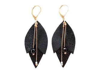 Black Tulip leather earrings