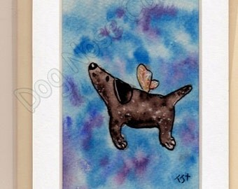 """Greetings Card Art.  Original HAND-PAINTED Mounted Birthday Card ready to frame. """"Flutter-Mutt"""" Not a print"""