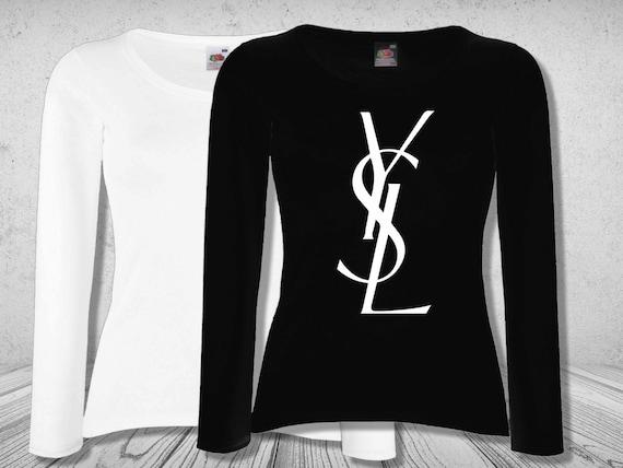 Ysl logo women t shirt white black color long by for Ysl logo tee shirt