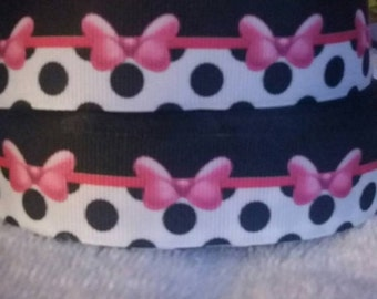 3 yards, 1' grosgrain ribbon with polka dots and bows.