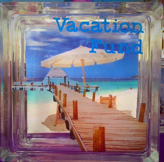 Vacation Fund Glass Block Savings Bank-Great Gift for Newly