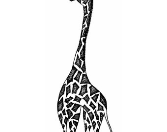 Geometric Giraffe, Stippling Black And White Ink Drawing, A4 Giclee Print