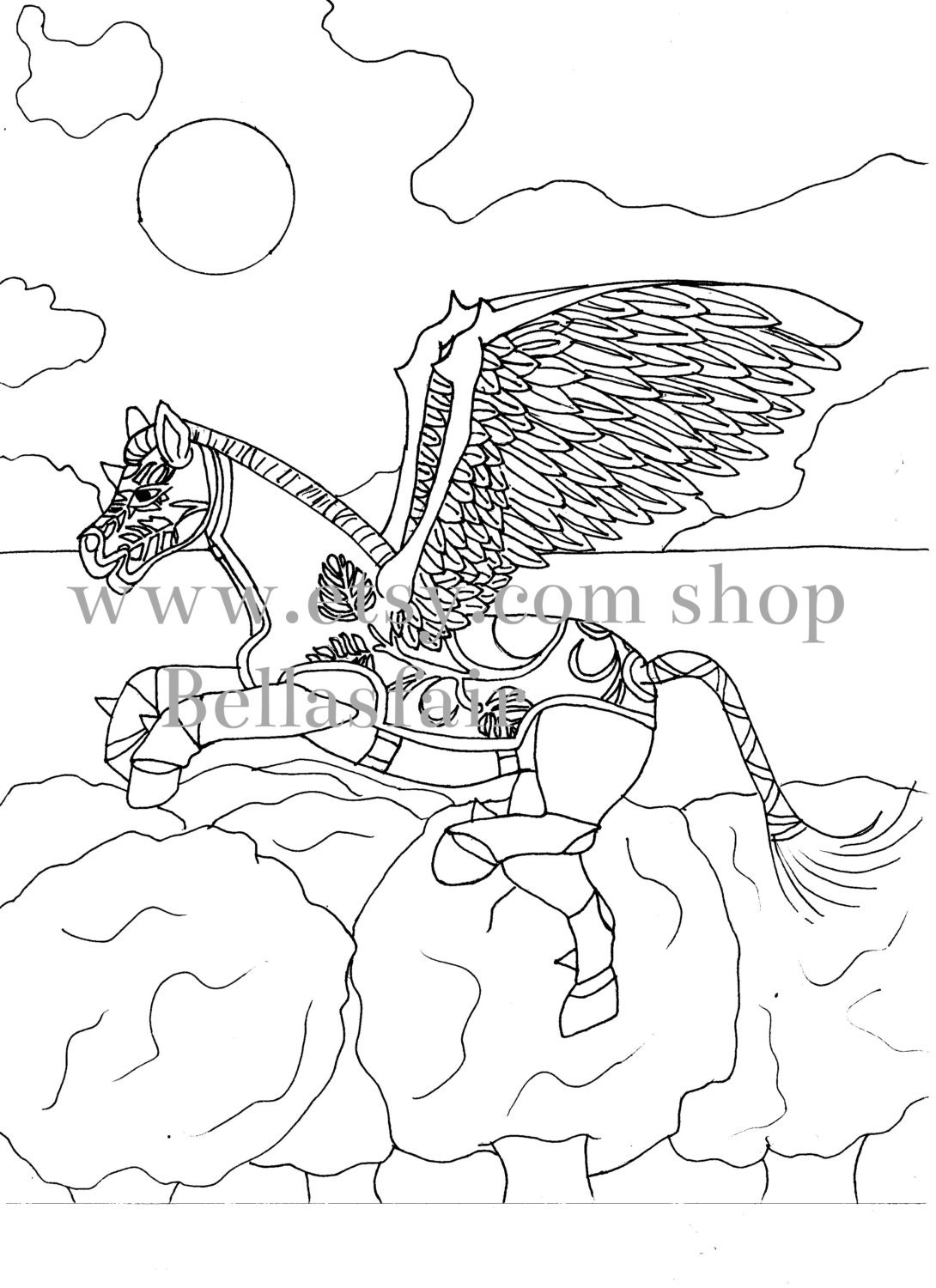 The sneaker coloring book pdf - Hand Drawn Mythical Horse Coloring Coloring Page Fantasy Horse Horse Mythical