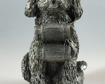 Pewter Figurine of a St Bernard Dog With Barrels, by Honeywell - Price Includes Shipping
