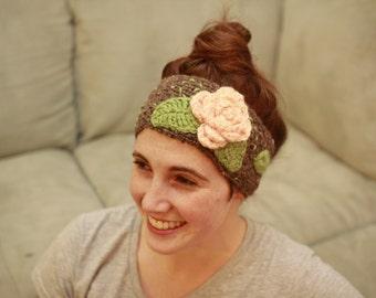 Crochet Rose Headband : Rustic Flower Ear Warmer