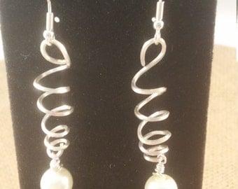 Sterling Silver Swirl Earrings with Pearls