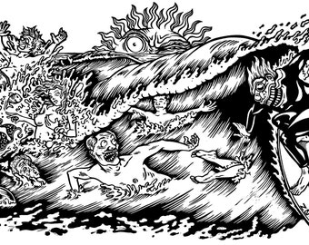Surfin' Contis, linocut