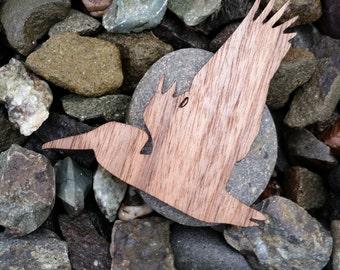 Flying Pelican Walnut Wood Veneer Laser Cut Sticker