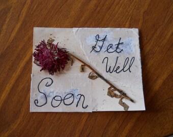 Blank Pressed Flower Card - Get Well Soon