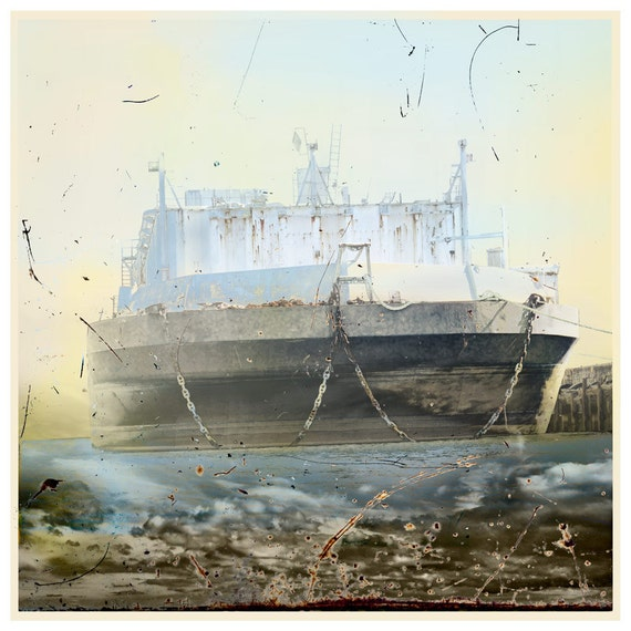 Dream Ship,SUMMER PRINT SALE, fine art print, digital print,ship portrait,boat painting,blue,industrial art,ship,marine art, limited edition
