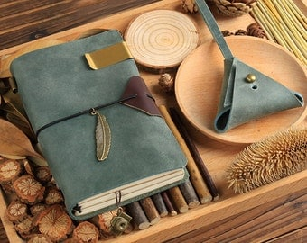 Turquoise Green Leather Midori Inspired Traveler's Notebook Set, Refillable Leather Notebook Journal - PJ052
