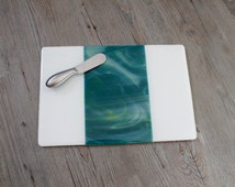 Ocean Blue, Green, and White Fused Glass Serving Platter/ Large Plate; Cheese Board & Spreader; Glass Serving Ware; Unique Glass Treasures