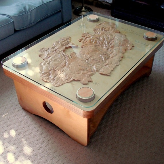 Peak District Coffee Table Birch Plywood Beech With Glass