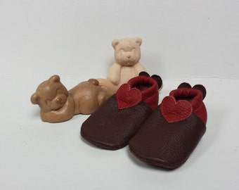 Cute handmade baby booties hearts
